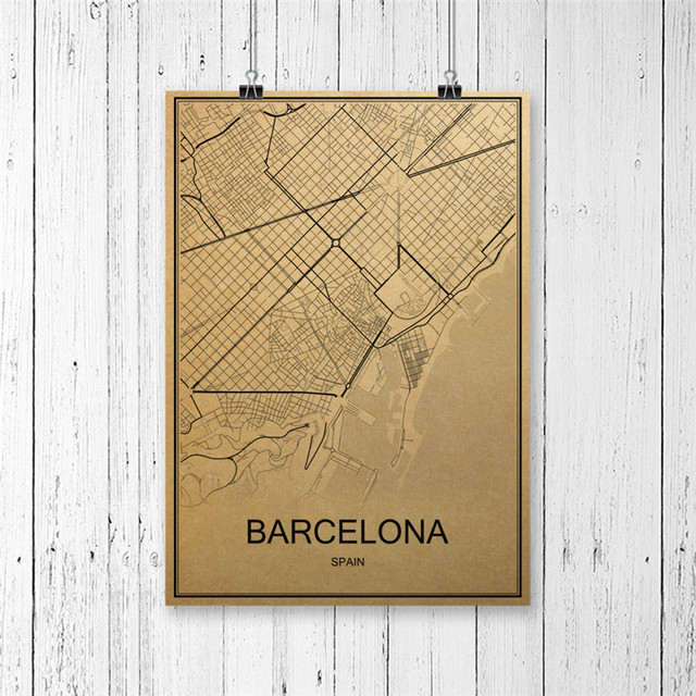 Hot sale world map barcelona vintage retro poster krafts paper art wall picture print painting home