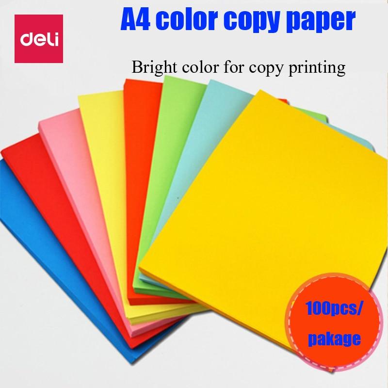 Deli 100sheets/Bag 8 colors optional A4 Color copy paper 80g color print Childrens handmade papers 7391