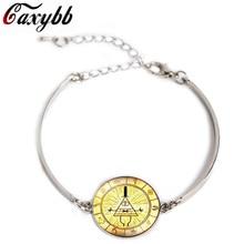 Caxybb Steampunk Charm Bracelet Drama Gravity Falls Mysteries BILL CIPHER WHEEL Glass Jewelry Silver Bracelets for Women B-G132