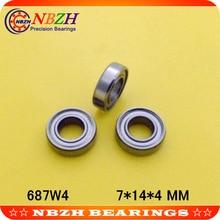 Высокое качество 687W4 S687W4 S687ZZW4 687ZZ 687ZZW4 687/4 ZZ 687 7*14*4 миниатюрный шариковый подшипник с глубоким жёлобом 7X14X4 мм
