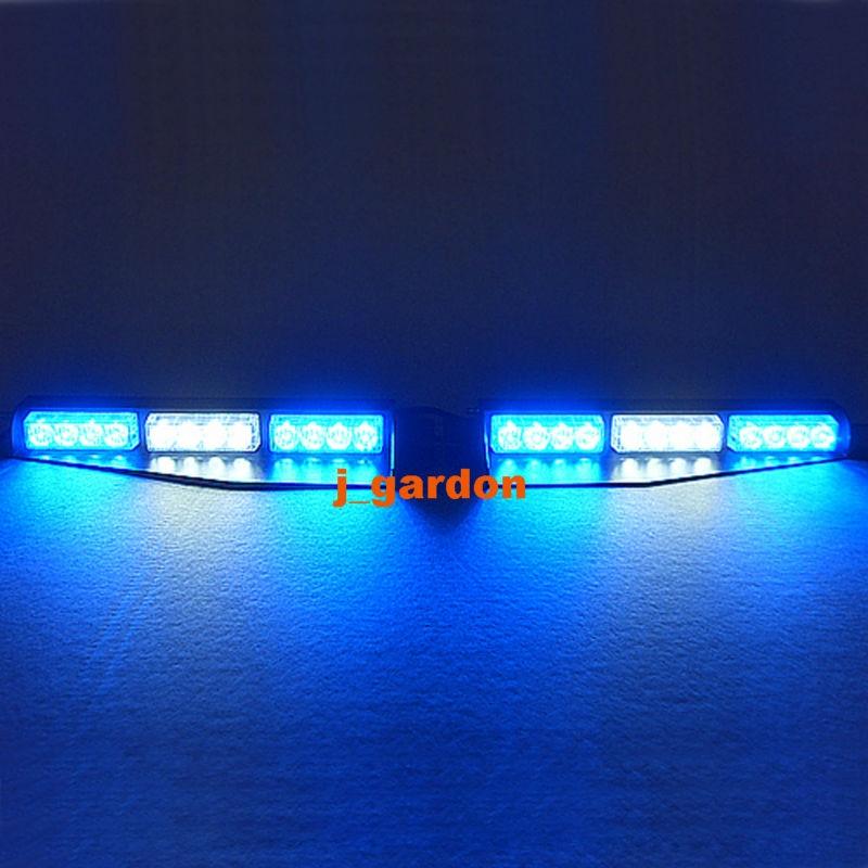 2 x 12 LED 1 Watt Emergency Warning Beacon Light Bar Exclusive Split Visor Deck Dash Hazard Strobe Blue/White/Blue LightBar