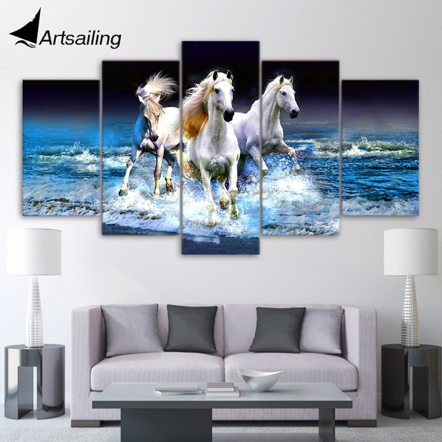 5 Piece Canvas Art Hd Print Beach Waves White Horses Racing Home Decor Paintings For Living Room Wall Free Shipping Up 1913b