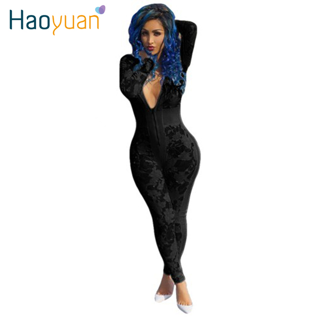 2017 New Autumn Women Black White Bodycon Jumpsuit Mesh Flower Floral Long Sleeve Bodysuit Sexy Club Jumpsuits And Rompers