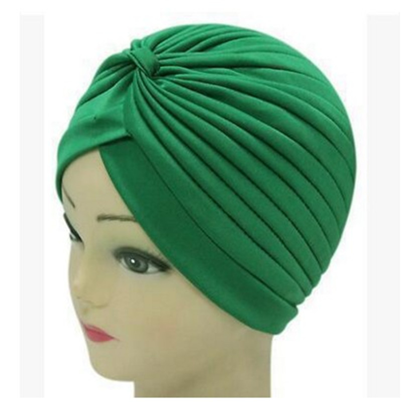 Hat Cap Beanies Turban Chemo-Cap Soft Stretchy Women Elastic Indian-Style Solid-Color
