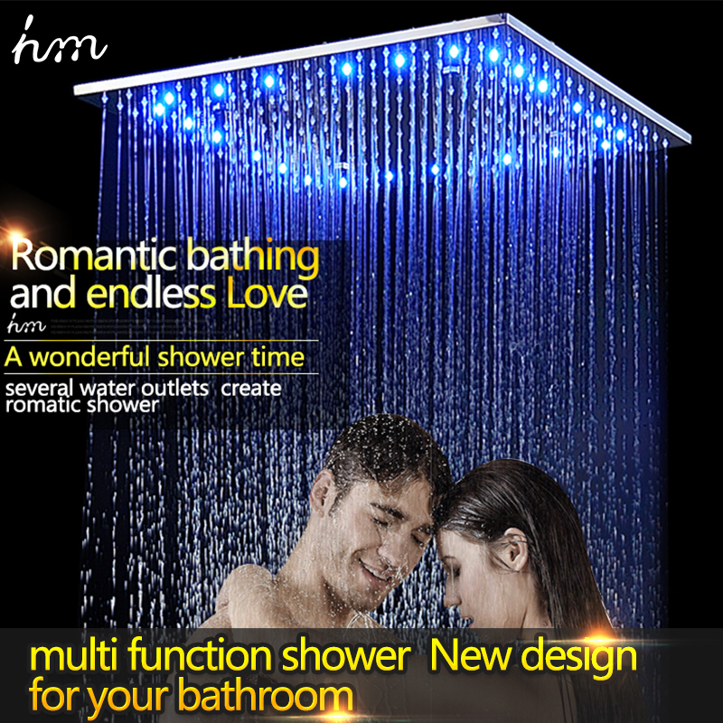 Luxury Rain Shower Head 16Inch OR 20Inch LED Colors Top Sprayer Square 304 Stainless Steel