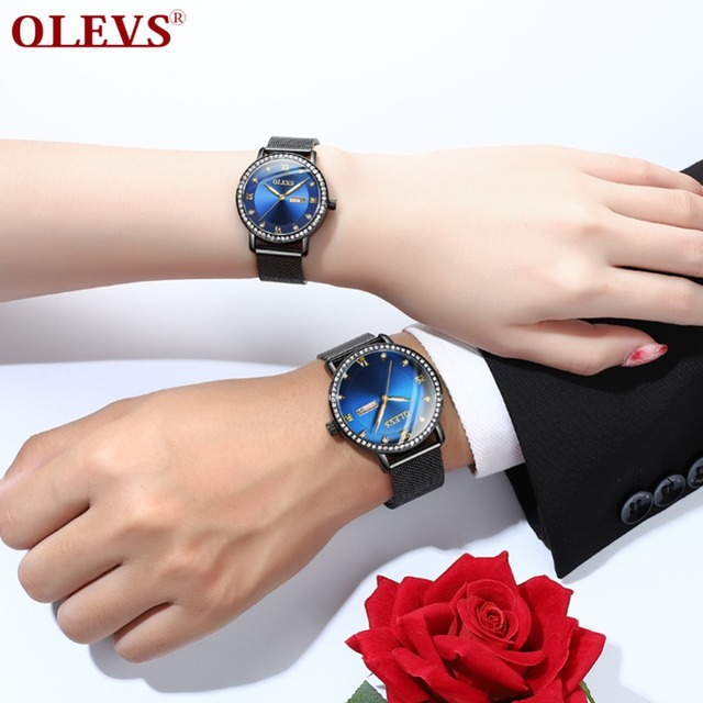 OLEVS Frauen Uhren Uhr männer Mode Luxus Strass Kleid Paar Uhr Quarz Watchreloj mujer saat relogio zegarek damski