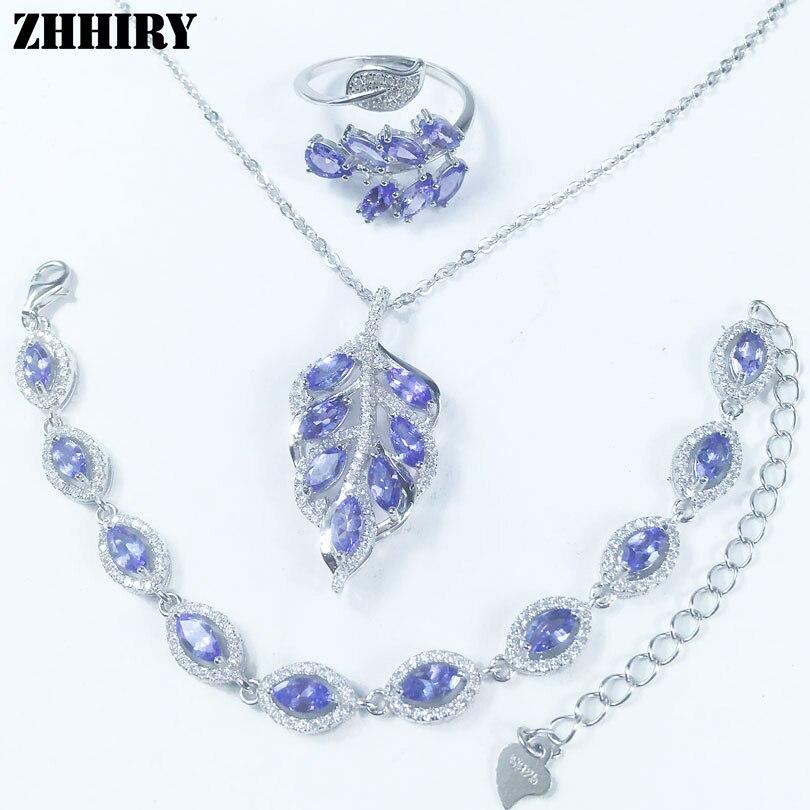 Ensemble de bijoux tanzanite bleu naturel véritable gemme ensembles solide 925 argent sterling pierre précieuse femme bal