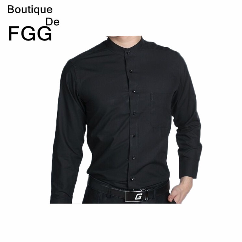 Mens wedding dress party prom groom black chinese for Men s wedding dress shirts