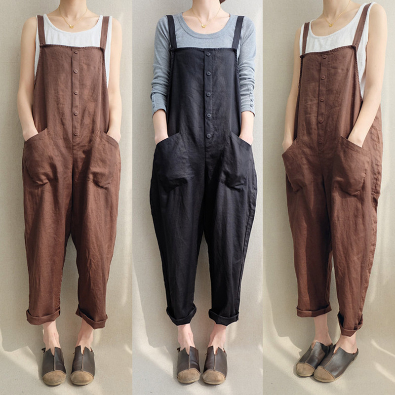 Plus size 5xl women sleeveless pocket strappy jumpsuits Overalls Salopette femme Fashion trousers women Casual loose dungaree