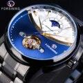 Forsining Королевский синий автоматические мужские часы Tourbillon Moonphase механические мужские часы черный стальной ремешок часы Relogio Masculino