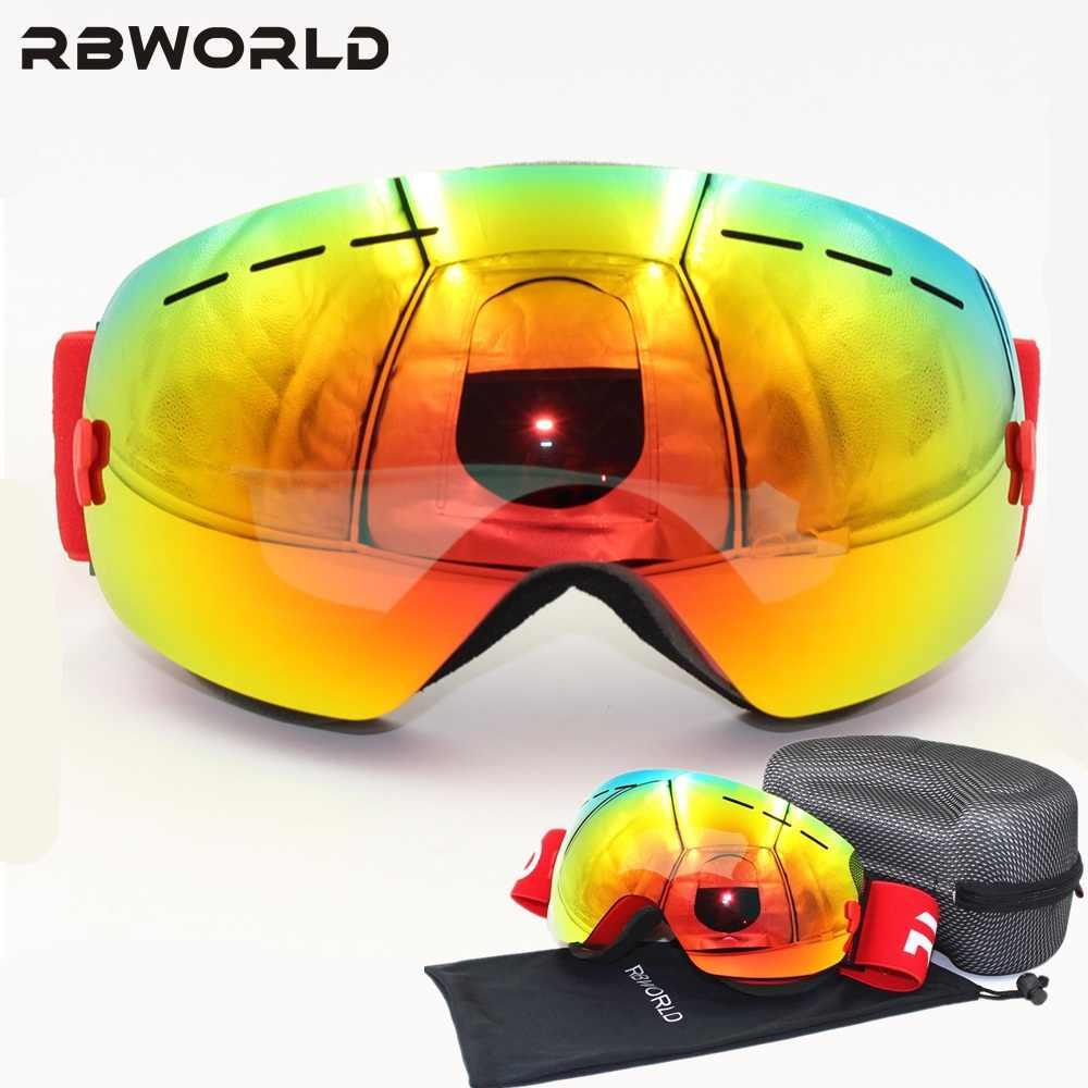 38e766babb34 Новый бренд лыжные очки двойной линзы UV400 Анти-туман взрослых сноуборд  Лыжный Спорт очки Для