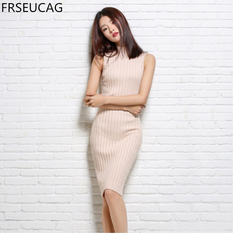 FRSEUCAG 2017Spring and summer new semi - high neck knit dress Retro fashion sleeveless Women's clothing pullover