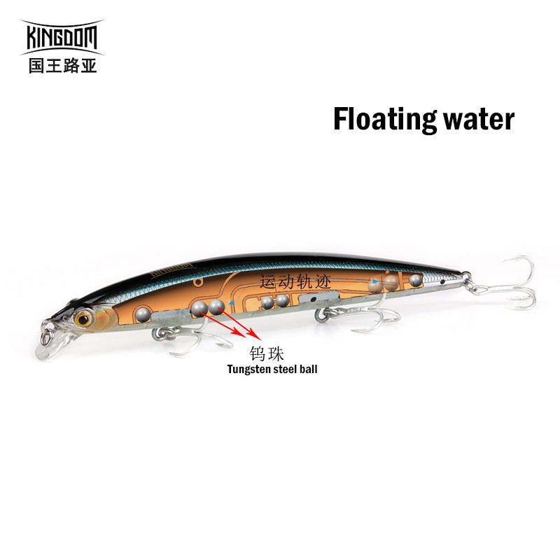 KINGDOM hot model fishing <font><b>lures</b></font> hard bait 115mm 12g minnow equiped quality professional white hooks Floating water free shipping