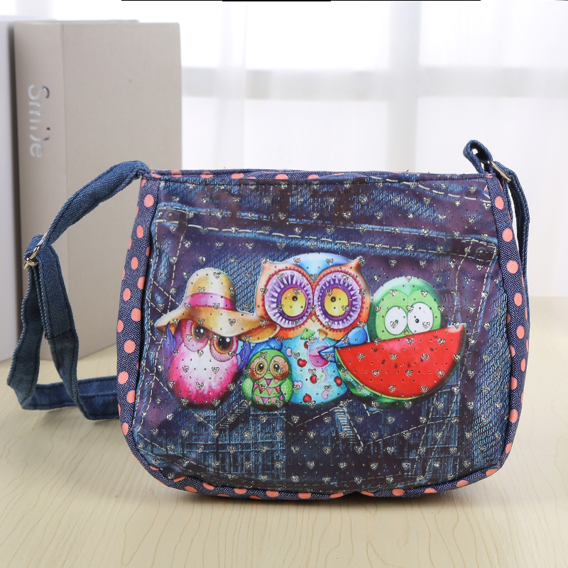 0f2fd7eca158 Cartoon Kids Children Mini Messenger Bags Girl Denim Owl Printing School  Bag Satchel for Girls Crossbody Shoulder Bags on Aliexpress.com