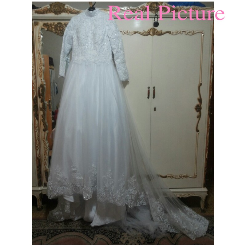 Arabic Muslim Beautiful Long Sleeve font b Hijab b font Wedding Dress with Veil Lace Applique