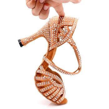 New Brand Latin Dance Shoes Women Salsa Bronze Silk Satin Dance Shoes Girls Ladys Ballroom Dance Shoes Cuban Heel 10cm g d wilson cuban dance op 86