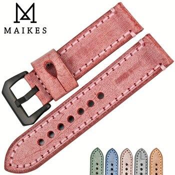 Maikes vendimia 22mm 24mm reloj rojo brida inglés reloj de cuero banda de moda reloj accesorios para Panerai correa de reloj