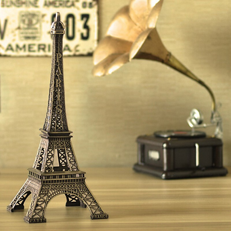 Hot Sale! 2pcs 15cm Bronze Tone Paris Eiffel Tower Figurine Statue Antique Home Decoration Vintage Metal Crafts Model 011030015