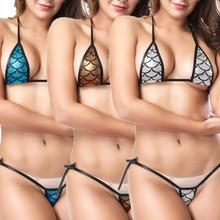 Sexy bikini kobiety przyciągające wzrok błyszczące bikini Micro Halter top + G-String Set strój kąpielowy stringi bikini tanie tanio Bikinis Set Striped Print Plaid Solid Niska talia Poliester Pasuje do rozmiaru Weź swój normalny rozmiar Z ISHOWTIENDA
