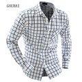 2017 Весна Осень Новый Плед Платье Рубашки Мужские Случайные Рубашки для Мужчин Slim Fit Социальные Рубашки С Длинным Рукавом M-XXL Chemise Homme