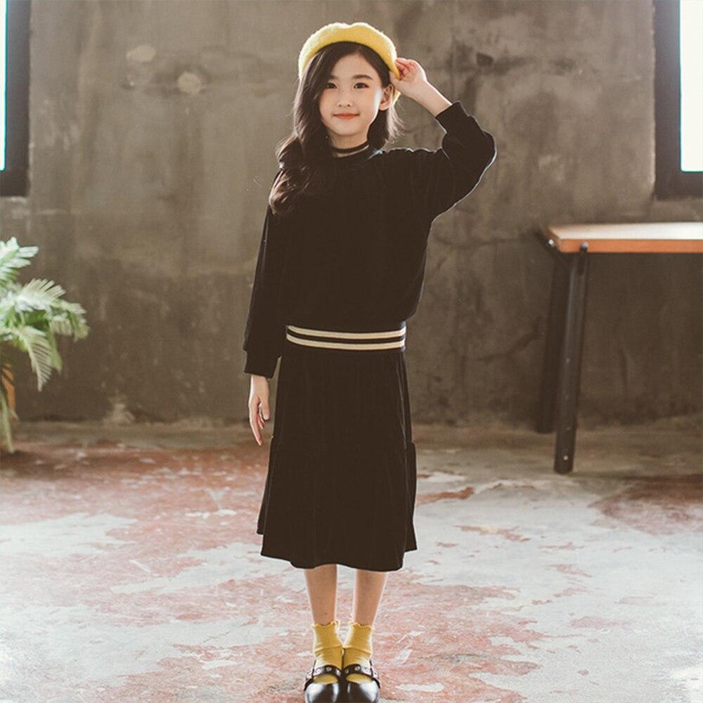 2 Pcs/Lot Big Girls Black Velour Long Sleeve Blouse With Fishtail Flare Skirt Clothes Set Baby Girl Clothes Velvet Clothing Suit все цены