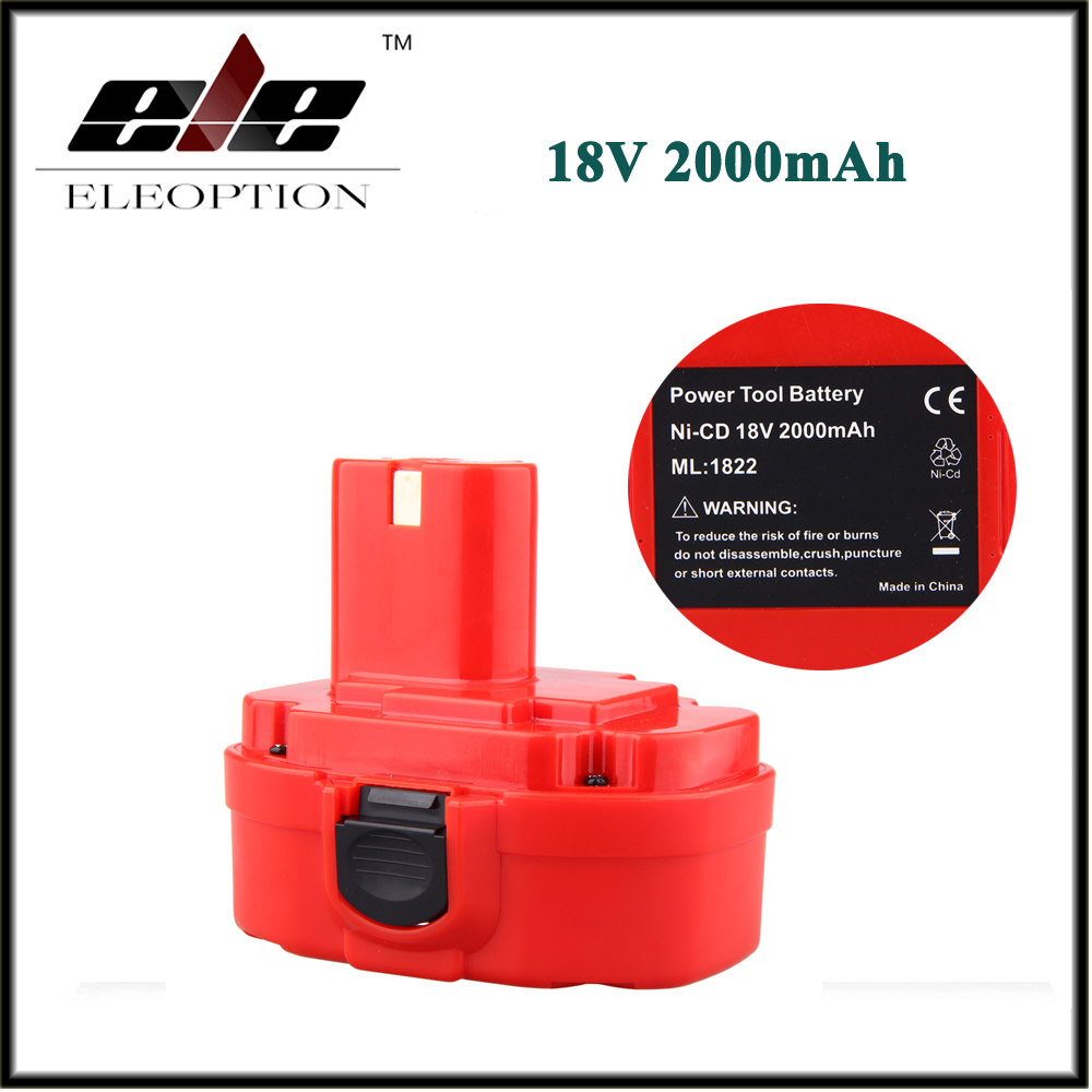 ELEOPTION 18V 2.0AH 2000mAh Ni-CD Rechargeable Power Tool Battery for MAKITA 1822 192826-5 192827-3 PA18 18 Volt аккумулятор makita 18в 1 9ач nicd 1822 192827 3