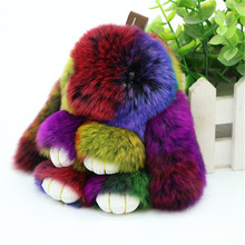 2017 Fur Bunny Rabbit Keychain Fashion pom pom keychain rabbit fur keychain Toy Doll rabbit keychain 13 cm Pendant Bag Car Charm