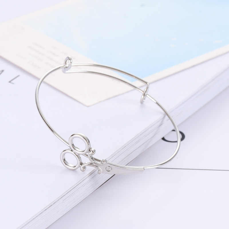 Extensible de brazalete pulsera para las mujeres las niñas tijera ajustable abierta pulseras de fiesta novia regalos de herramientas para el cabello de Color oro