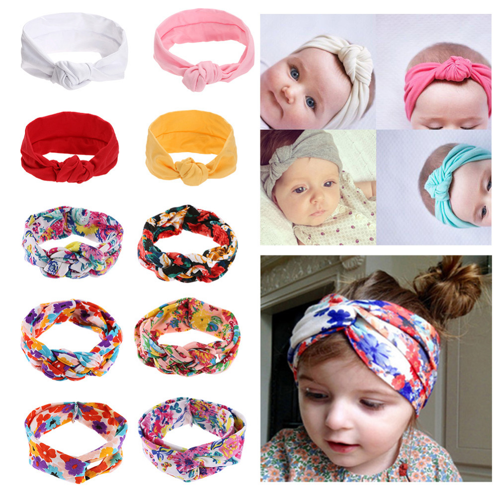 Baby girls Tie Knot Headband Knitted Cotton Children Girls elastic hair bands Turban bows for girl Headbands Hair Accessories two tone knot elastic hair band