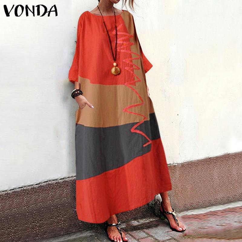 Autumn Cotton Bohemian Print Dresses