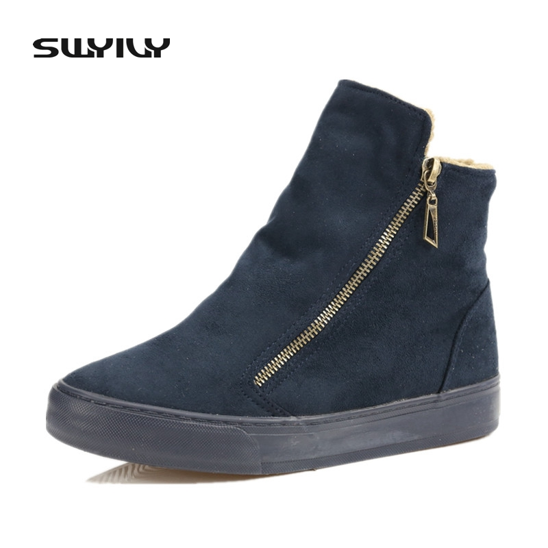 Women Boots Ankle High Top Snow Boots Canvas Denim Snow Boots Shoes Winter Female Sneakers Flat For Velet Fur 40 Big Size outdoor sport women high top running shoes genuine leather running boots sneakers women plus big size