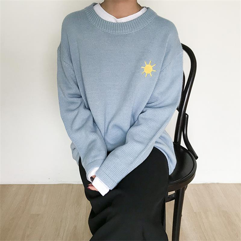 Women's Casual Sweaters Japanese Kawaii Ulzzang Cloud Sun Cartoon Weather Pullover Female Korean Harajuku Clothing For Women