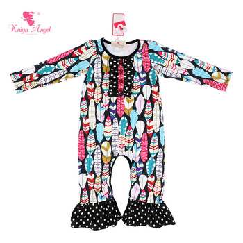 Kaiya Angel Baby Clothing 2017 New Newborn Baby Girl Romper Clothes Long Sleeve Infant Rompers Colorful Feather Dot Clothes