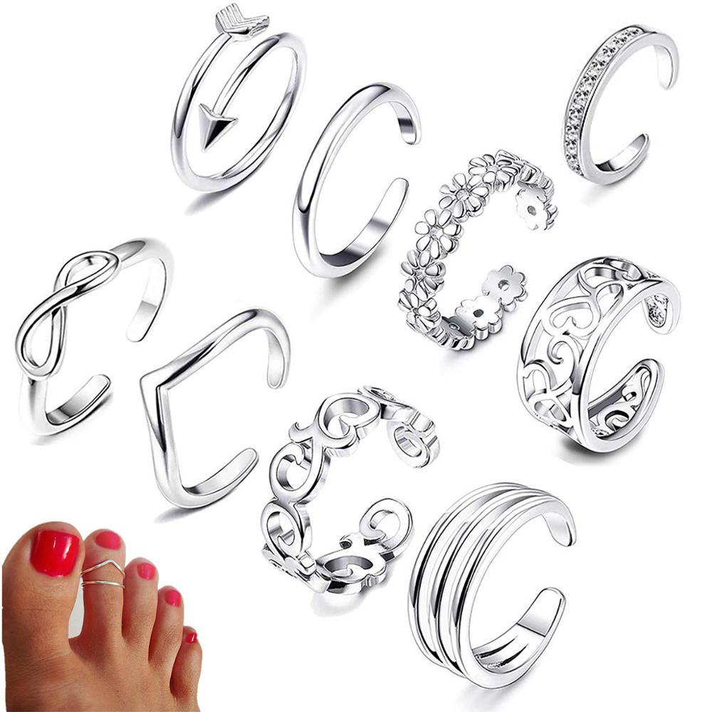 9 pçs verão praia férias junta pé anel aberto toe anéis conjunto para mulheres meninas dedo do pé anel de coração ajustável jóias por atacado