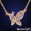 Romantic Butterfly Rhinestone Choker Necklace For Women With Swarovski Elements Crystal Colar Fine Jewelry   Gold Plated