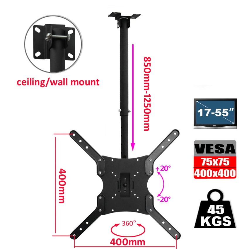 DL DLC-201AL Steel 400X400 46inch 50 inch 15 tilt up down tv wall mount lcd ceiling bracket led stand plasma tv holder