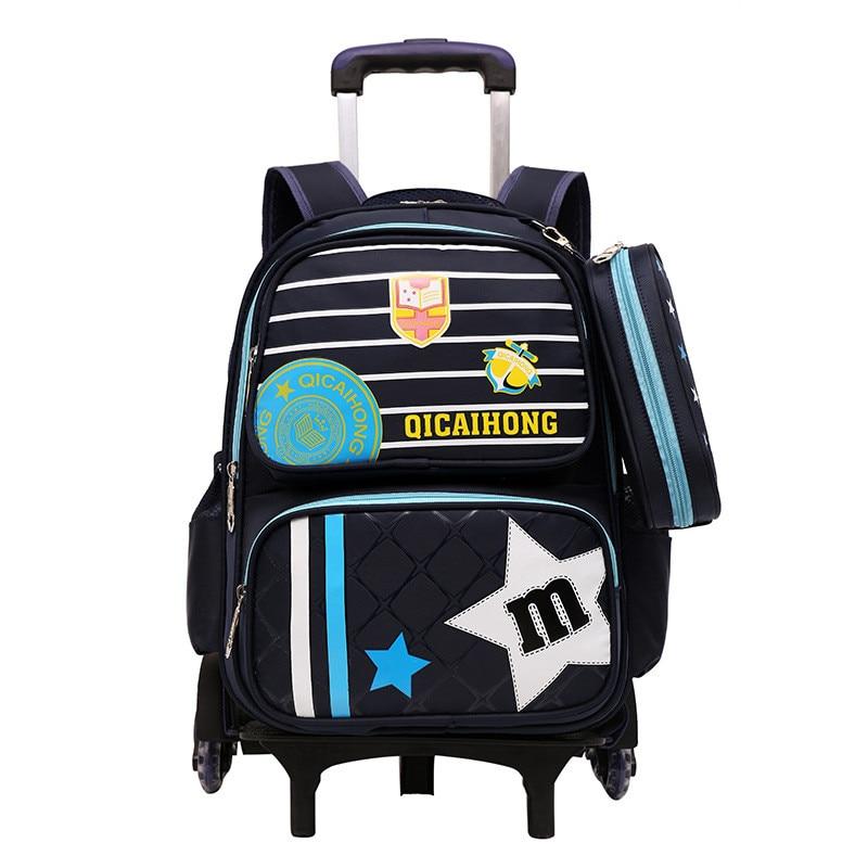 Enfants sac à dos étanche 2/6 roues détachable sac d'école enfants sacs d'école chariot sac à dos flash/pas de flash sac à dos à roulettes
