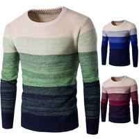 Thickening Casual Sweater O Neck Striped Slim Fit Men Long Sleeve Patchwork Male Pollover Autumn Winter