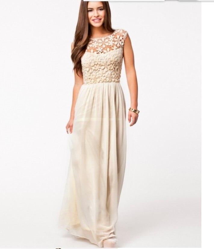 brand new 14553 9f5a1 US $23.19 20% di SCONTO|2016 nuovo disegno lungo casuale delle donne abiti  di pizzo nero beige colore lady cena morbido vestito di modo delle ragazze  ...