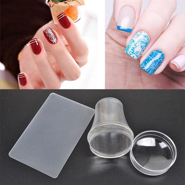 New Clear Nail Art Stamper Scraper With Cap Silicone Stamping Polish ...