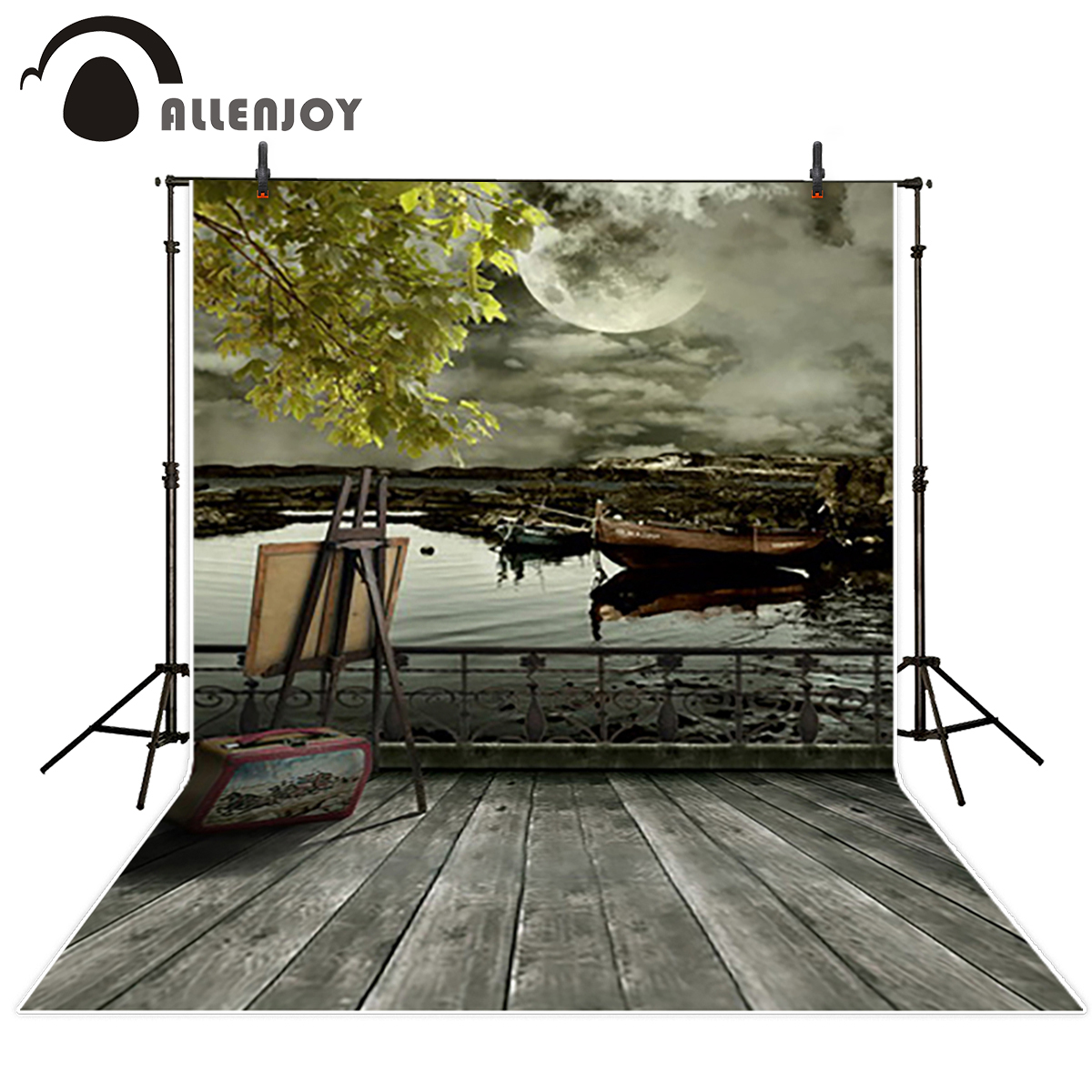 Allenjoy background for photographic studio Ancient River boat desolate original design photography backdrop custom vinyl fabric