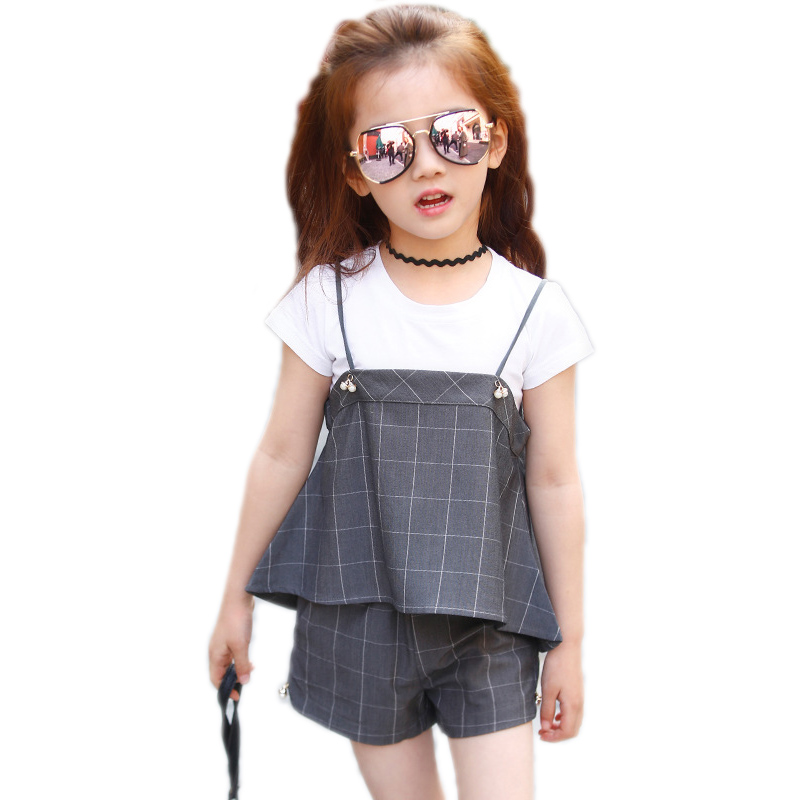 Children Clothes 2017 Summer Girl Clothing Sets Kids Clothing Sets White Short T-shirt +Plaid Suspender+Shorts 3pcs Girl Suit girls clothing sets 2017 new summer style children clothing baby girl s plaid clothes sets sleeveless plaid shirt shorts 4 9t