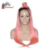 Sunnymay полный шнурок человеческие волосы парики 1B/розовый Малайзии натуральная прямые волосы Ombre парик шнурка с ребенком волос предварительн