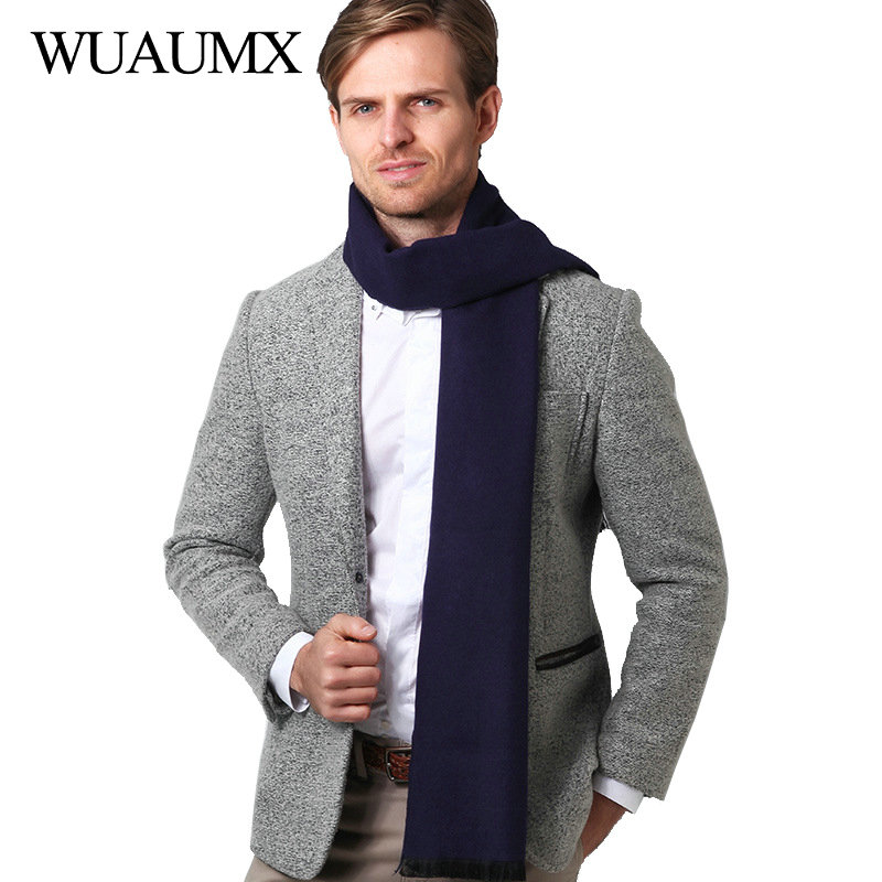 Wuaumx Winter Scarf Men Casual Solid Scarves Male Imitation Cashmere Warm Scarf Shawls Neckerchief Muffler With Tassel foulard in Men 39 s Scarves from Apparel Accessories
