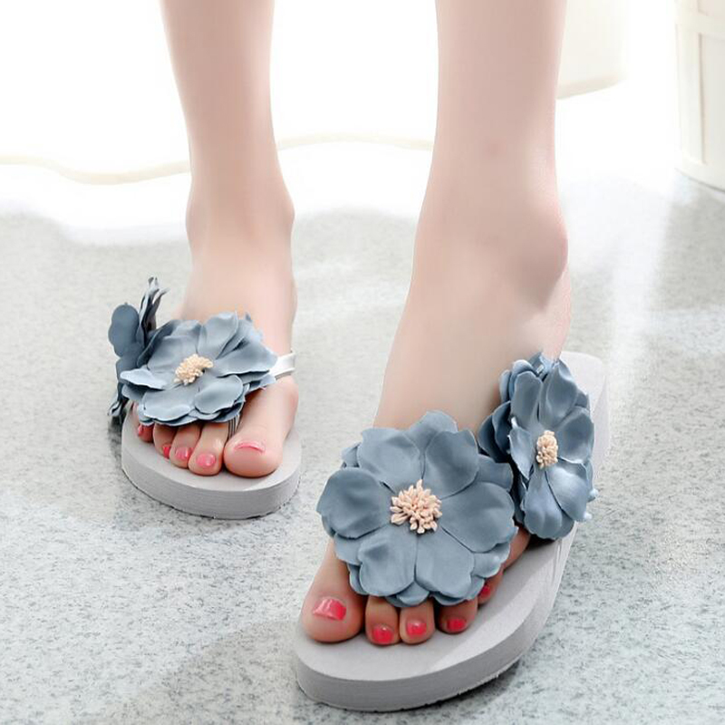 Women 2018 Fashion Slippers Platform Sandals Summer Flower Beach Slides Flip Flops Female Comfortable Shoes Chaussures Femme