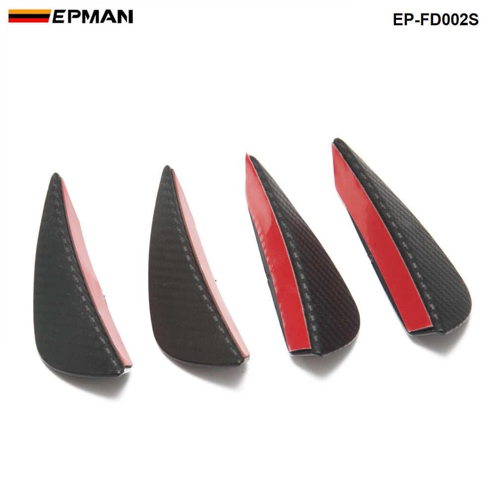 4pcs Carbon fiber Color Fit Front Bumper Lip Splitter Fins Body Spoiler Canards Valence Chin EP-FD002S модальные термобелье мужчина плюс бархат толщиной термобелье устанавливает qiuyiqiuku