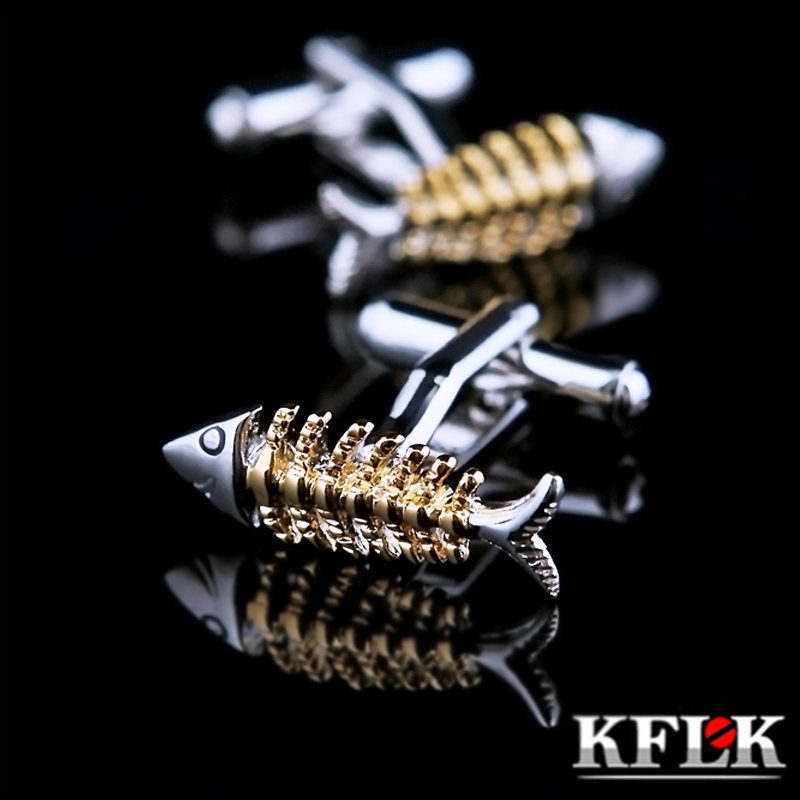 KFLK Jewelry shirt cufflink for mens Brand Gold Fishbone shape animal Cuff link Wholesale Male Button High Quality Free Shipping