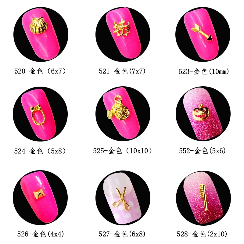 50pcslot japan 3d nail art decoration metal nail sticker supplies alloy shell scissors halloween pumpkin diy nail tools