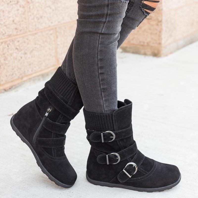 Chaussures Le Bas Femmes Vers marron Boucle Plus Solide Q680 De Taille La rouge Bottes 35 Noir gris Hiver Femelle Pour 43 Plat Neige Boot Chaud Cheville XXqFZI