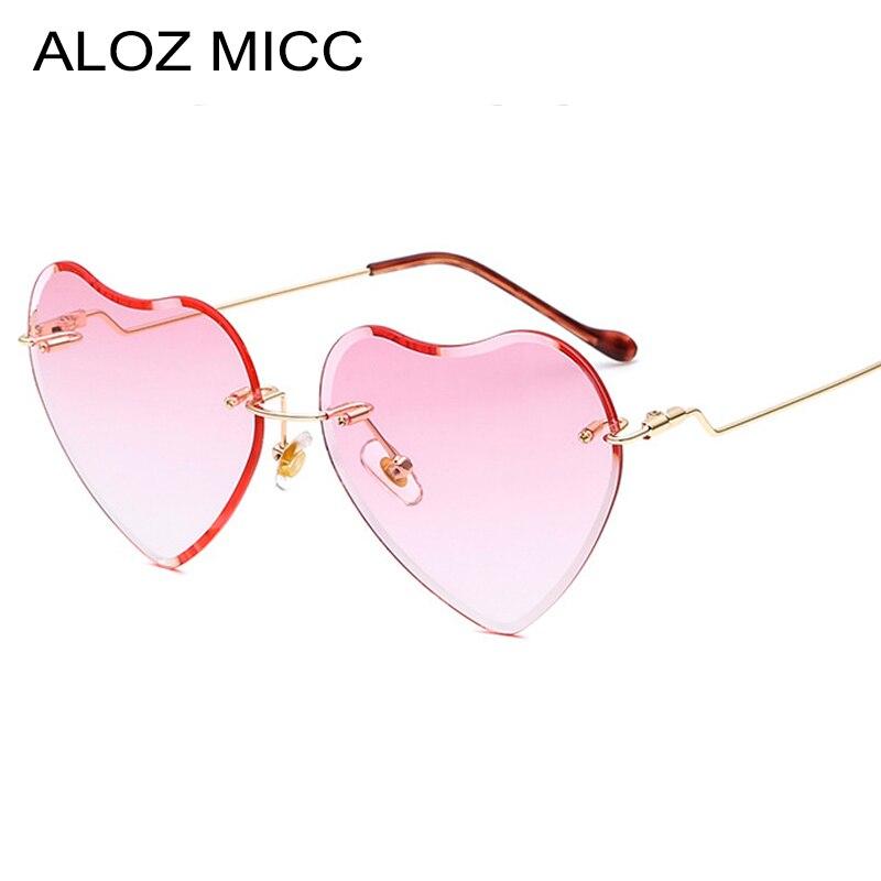 ALOZ MICC Rimless Heart Sunglasses Women 2018 Brand Designer Trends Summer Style Eyewear Q564